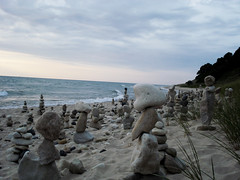 Watching, Waiting II (farlane) Tags: sculpture storm art beach rock found sand gallery michigan lakemichigan storms frankfort benzie frankfortrockgallery michiganthunderstorms michiganthunderstorm