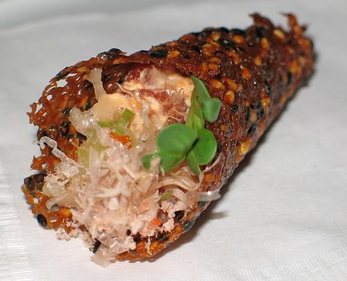 Spicy Tuna Tartare in a Sesame-Miso Tuile Cone