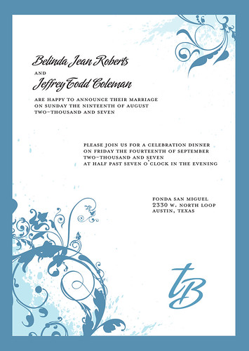Wedding invitation design Floral blue and white