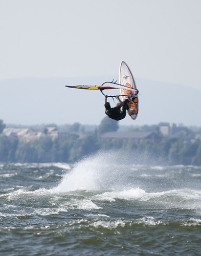 Windsurfer getting big air time