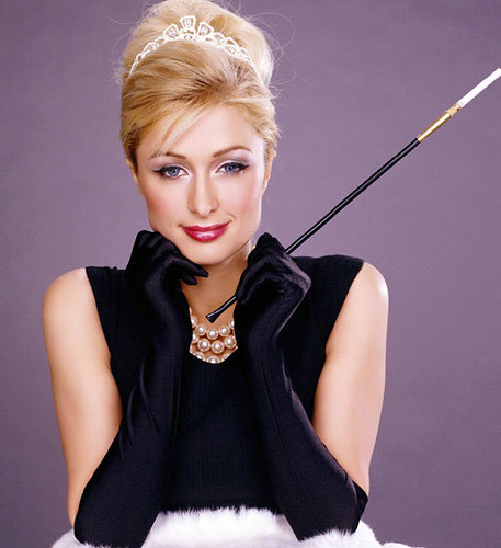 paris hilton impersonating Aurey Hepburn