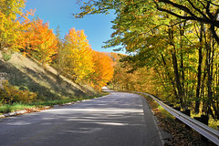 """An Autumn's Drive""     H58 Pictured Rocks National Lakeshore, Near Grand Marais Michigan (Michigan Nut) Tags: blue orange usa green nature landscape geotagged photography oak michigan fallcolors scenic explore mapletree aspen lakesuperior recent colortour orangeleaves picturedrocksnationallakeshore autumnroad michigannut"