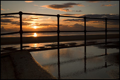 Another Liverpuddleian sunset. Explored! (Ianmoran1970) Tags: sunset orange sun beach fence landscape friday crosby hff explored ianmoran fencefriday ianmoran1970