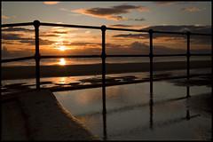 Another Liver'puddle'ian sunset. Explored! (Ianmoran1970) Tags: sunset orange sun beach fence landscape friday crosby hff explored ianmoran fencefriday ianmoran1970
