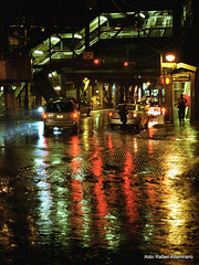 Rain (Rafakoy) Tags: street light people ny newyork color cars film wet water colors car rain station night train 35mm subway 50mm lights store queens negative n80 avenue nikonn80 woodside nite c41 kodakgold400 afnikkor50mmf18d nikkoraf50mmf18d epsonv600 epsonperfectionv600 aldoraltamirano