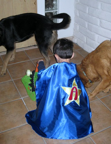 aidan the boy superhero (back view)