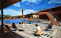 The Sands Las Vegas NV (Edge and corner wear) Tags: party pool swimming vintage pc postcard wayne motel architect strip mcallister