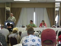 Photo of The Power of Podcasting panel taken by Bob Goyetche