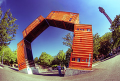 Yokohama harbor art (The Other Martin Tenbones) Tags: orange japan harbor ar fisheye yokohama hdr kanto containers p1f1