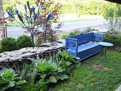 The Bottle Tree's bottle tree & bench (Pandorea...) Tags: blue art glass garden bench folk outsider bottletree avantgarden invited