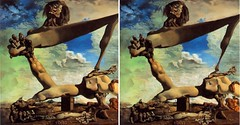 Dali Premonicao in 3D (Ray Tomes) Tags: art painting weird 3d crosseye war conversion civil salvador dali 2d premonition crossview raytomes premonicao