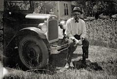 Man & Chevrolet (mikerosebery) Tags: 1920s man chevrolet vintage corn antique bowtie vernacular fedora coupe