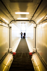 Boarding. (Ian McWilliams.) Tags: cruise light people amsterdam ferry dark walk tunnel passengers walkway cruiseship access boarding newcastleupontyne passageway gangway dfds lightattheendofthetunnel