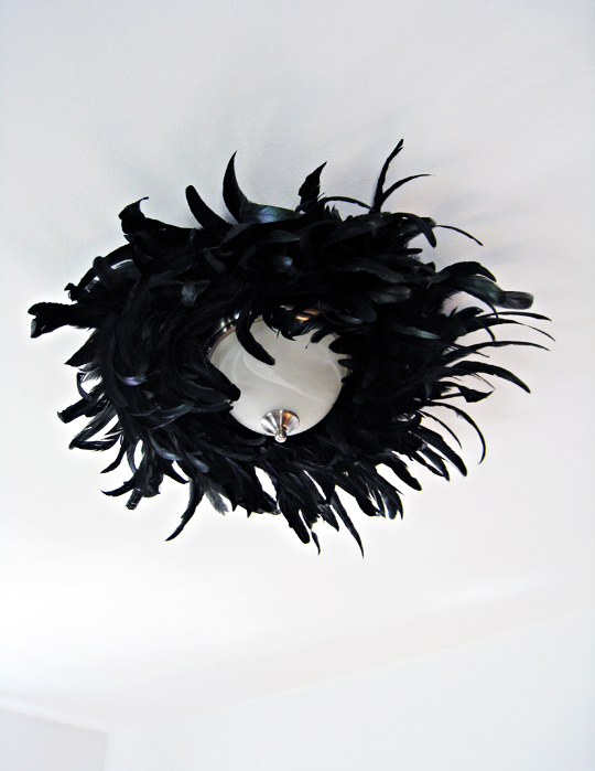 black feathers diy dining room lighitng fixture