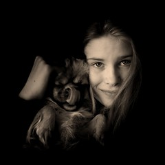 Beauty and the Beast (Olli Keklinen) Tags: portrait blackandwhite bw dog pet girl beauty sepia photoshop square nikon 100v10f beast d200 2007 milla tibetanspaniel ok6 20070605 ollik oraclex work0687
