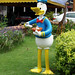 Donald Duck eating noodles