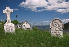 Kings Cove, grave stones, 1908 and 1892 (dacardoso) Tags: ocean ice newfoundland icebergs kingscove