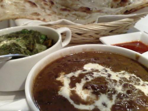 Dal, vegetable of the day, and naan