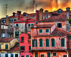Venice on Fire, II (vgm8383) Tags: old flowers venice sunset chimney sky italy sun architecture clouds canon tile fire rebel 17thcentury hdr antennas density onfire supershot xti 400d abigfave rebelxti canonrebelxti colourartaward artlegacy