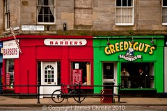 Great Junction Street, Leith (Photography JC) Tags: street red men green cup coffee bicycle st shop bar edinburgh commerce tea traditional great drinking sandwich junction pole snack barber mug customer leith gt railing greedy guts barbers grt greedyguts jnctn jctn