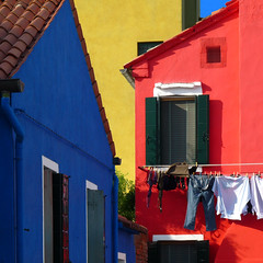 colour therapy (DanielaNobili) Tags: blue venice red yellow square colours geometry laundry clothesline burano mywinners colorphotoaward winner500 danielanob bestofmywinners tripleniceshot bestofblinkwinners blinksuperstars