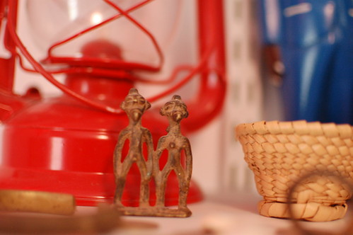 Tiny brass cast couple