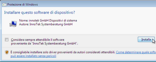 Fig. 7 - installazione VirtualBox Guest Addition in Windows Vista - driver di sistema