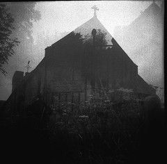 3 x Exposed X-Pro Penderyn Church - 1932 Voigtlander Brilliant (VEB Zardoz the Gravyboat) Tags: uk blackandwhite bw classic 120 6x6 film strange fog wales 1932 mediumformat square mono countryside weird blackwhite 1930s day noiretblanc unitedkingdom britain doubleexposure country cymru documentary surreal overlay bn haunted creepy 120film spirits spooky squareformat ghosts churchyard analogue manual filmcamera agfa secondhand schwarzweiss homage effect  basic demons boxcamera reportage 120mm tripleexposure spiritworld twinlensreflex blancinegre expiredfilm galles twinlens theexorcist  filmcameras imageoverlay documentaryphotography germancameras welshvalleys  penderyn  flickrelite artinbw
