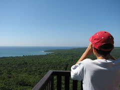 Checking out the view of Pancake Bay