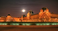 Le Louvre - HDR (lucibalica) Tags: hdr lelouvre pyramid louvre fullmoon moon nightimages canon eos400d moonlight paris france anawsomeshot anawesomeshot favemegroup3