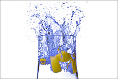 Blue Splash (AHMED...) Tags: blue pakistan stilllife water drops lemon bubbles splash ahmed sind sindh breathtaking slices highspeed muhammad stopaction supershot mehrabpur 25faves superbmasterpiece diamondclassphotographer