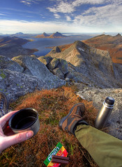Lunch at the top (balsamia) Tags: autumn mountain fall coffee peak 1022mm nordnorge hst 2h helgeland kvikklunsj helgelandskysten