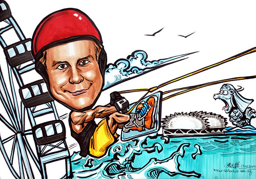 Caricature wake boarding