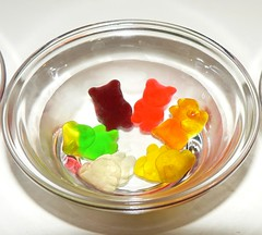Fruit juice gummy bears in vodka
