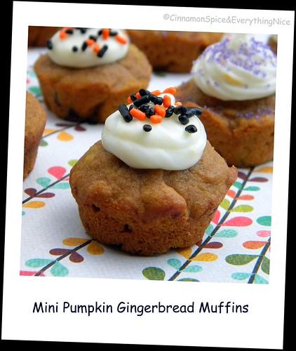 Mini Pumpkin Gingerbread Muffins w/ Orange Cream Cheese Frosting