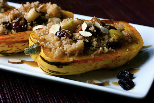 Delicata Squash stuffed with Cherry Almond Apple Couscous