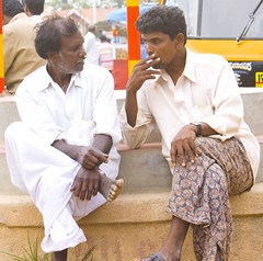 Friendly Conversation (Ruban Phukan) Tags: life street city friends people man digital canon photography rebel cigarette candid bangalore smoking everyday common xti 400d canon400d canondigitalrebelxti