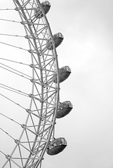 London eye - pods. (Ghazghul) Tags: uk bw white black london eye blackwhite nikon flight british airways 50mmf18d d80 ghazghul