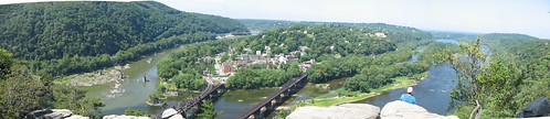 Panorama of Harpers Ferry from Overlook Cliffs, Maryland Heights Trail