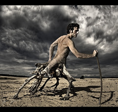 Desperation (Josh Sommers) Tags: man tree art photoshop walking photo artwork emotion photos character fear fineart manipulation fantasy despair desperation ent metamorphosis allrightsreserved walkingtree entaur copyrightjoshsommers2007 thesecretlifeoftrees robertsartgallery