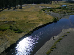 Two guys fishing on Tuolumne River with low water, Tuolumne Meadow, Yosemite National Park (flyingcamera) Tags: california above park fish kite water rock pine river photography climb fly photo fishing wind meadow kites climbing national yosemite yosemitenationalpark kap rockclimbing aerialphotography tuolumne kiteaerialphotography ynp tioga rokkaku tuolomne