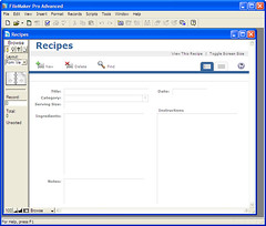 Recipe Data Entry Screen