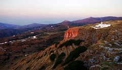 Korthi High Castle: A view to the west in morning light (Nick in Greece) Tags: sunrise landscape island peak greece elevation slope andros slopes pentaxkx aegeansea korthi dal1855 korthion kochilou