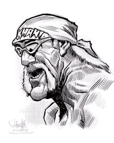 digital caricature sketch of Hulk Hogan - 2 small