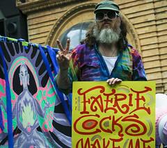 Gay Hippie (Zervas) Tags: sunglasses oregon portland beard march nw peace northwest hippy parade v older hippie pdx gaypride peacesign bearded faerie 2007 tiedyed faeriecocks
