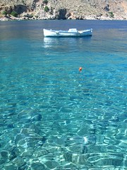 Boat in Crystal Waters,  See you In Crete :) (Nikosp!) Tags: sea sun color boat mare cyan greece crete loutro chania   buoyant  abigfave anawesomeshot colorphotoaward livikopelagos