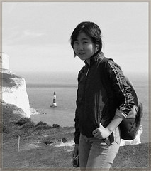Sylvia on a cliff (Southdowns way) (sbuliani) Tags: uk portrait england bw white black photoshop way lumix panasonic sylvia stefano supershot dmcfz50 buliani sapessi stefanobuliani sowthdowns sowthdownsway
