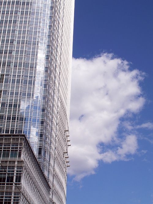 cloud and building