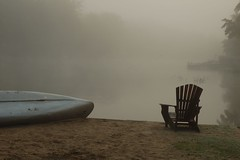 Morning Hush Hour (jah32) Tags: mist ontario beach fog chairs canoe muskoka muskokachairs betterthangood