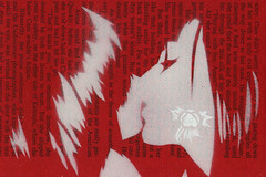 lightning (Pam Glew) Tags: red portrait white cinema flower art love film river painting paper graffiti book words stencil kiss couple paint acrylic affection contemporaryart text desire delight pam actress spraypaint lightning embrace eskimo redandwhite snog stencilgraffiti glew booktext pamglew